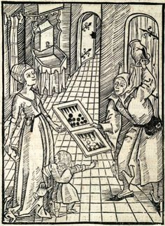 """""""Bad Example of Parents"""". This woodcut is attributed to the artist the Gnad-Her-Meister. It is an illustration from the book Stultifera navis (Ship of Fools) by Sebastian Brant, published by Johann Bergmann in Basel in 1498."""