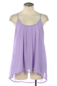 Purple Pleated High-Low Sleeveless Top
