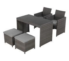 Loungegarnitur in Grau aus Metall, Kunststoff, Glas und Textil. Tisch: B/H/T: ca. 119/62/74 cm Stühle: B/H/T: ca. 53/84/55 cm