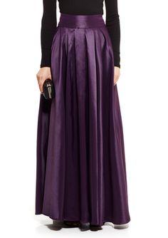 On ideel: Purple Satin Silk Pleated Long GRACIA Full Satin Maxi Skirt $60