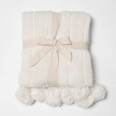 Knitted Pom Pom Ivory Acrylic Throw-THROW WD18203-60-IVORY - The Home Depot b29a118038cb