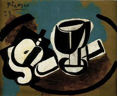 "Pablo Picasso - ""Apple peeled, glass and knife"". 1923"