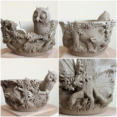 Owl and Fox yarn bowl. Unfired.  earthwoolfire@gmail.com