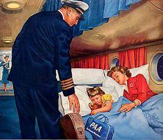 Lennolla kaikki hyvin > MATKUSTAMOSSA KAIKKI HYVIN     Kapteeni on tullut lennon aikana varmistamaan, että matkustajilla kaikki on hyvin. Ihan selvästi hän salavihkaa samalla tarkistaa, että onko todellakin tuon uinuvan ladyn sormessa vihkisormus - ja tyytymättömästi puuskahtaen huomaa, että on. Mutta ei aina voi voittaa. NEW YORK 1937