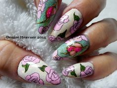 Stamping , hand painted roses , foil , gel painting and gel stones  Like my page on Facebook @ Bold and Beautiful Nails .... watch me on youtube = Denisejohn65