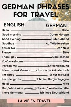 Germany Travel - German Phrases with Pronunciation - Germany vacation - Germany itinerary - Berlin - Munich - Learn these 25 German words and phrases for your Germany trip to ask for directions, order at restaurants, and more! Visit Germany, Munich Germany, Germany Travel, German Grammar, German Words, Holidays Germany, German Language Learning, Foreign Language, Spanish Language