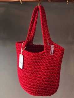 Scandinavian Style Crochet Tote Bag Handmade Knitted Handbag Gift for Her CLASSIC RED color by anoukseydou on Etsy Crochet Tote, Crochet Handbags, Crochet Purses, Scandinavian Style, Diy Bags Purses, Tote Bags Handmade, Knitted Bags, Etsy, Red Color