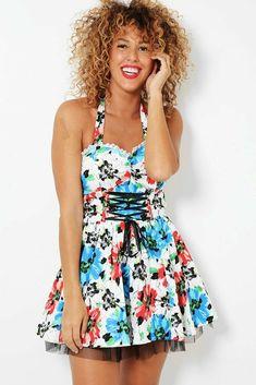 Floral Print Steampunk Netted Mini Dress Halterneck Corset UK 8 10 12 14 White  #Unbranded #SkaterDress #AnyOccasion Steampunk Dress, Gothic Steampunk, Prom Dresses, Summer Dresses, Lace Corset, Office Dresses, Sexy High Heels, Skater Dress, Lounge Wear