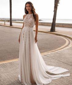 Cheap Wedding Dress, Perfect Wedding Dress, Chiffon Beach Wedding Dress, Halter Neck Wedding Dresses, Summer Wedding Dresses, Simple Lace Wedding Dress, Slit Wedding Dress, Boho Dress, Lace Dress
