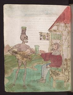 """Seite aus dem so genannten """"Zimmerischen Totentanz"""" im Vergänglichkeitsbuch des Wilhelm Werner von Zimmern. Between 1540 and 1550. Württembergische Landesbibliothek Cod. Don. A III 54, fol. 121v, Der Wirt. http://digital.wlb-stuttgart.de/digitale-sammlungen/seitenansicht/?no_cache=1&tx_dlf%5Bid%5D=1433&tx_dlf%5Bpage%5D=63&Seite=&cHash=0a377113d3b183161cbded4e0eee2901"""
