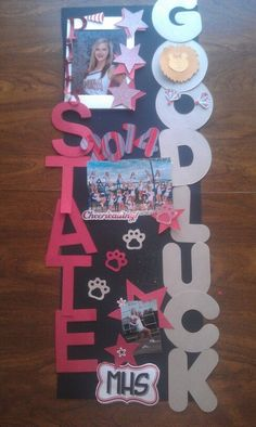 Locker decoration for state cheerleading. doing this to my locker Volleyball Locker Decorations, Softball Decorations, Cheer Posters, Volleyball Posters, Football Posters, Soccer Locker, Volleyball Locker Signs, Basketball Signs, Sports Signs