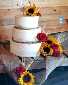 @curiouscountry posted to Instagram: Fall wedding cake complete with sunflowers and dried wheat-- we love it! Follow us to get more inspiration for your Autumn weddings, floral designs, home decor and more!  #weddinginspo #weddingreception #receptionideas #bohowedding #weddingideas #weddingdecor #weddingbouquet #bridetobe #bridalbouquet #weddingdecor #weddingseason #weddingparty #weddinginspiration #weddingflowers #wheat #weddingcake #countrywedding #weddingstyle #weddingplanning #summerwed