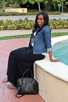 Black maxi skirt, white tee, denim jacket