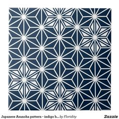 Japanese Asanoha pattern - indigo blue & white Large Square Tile