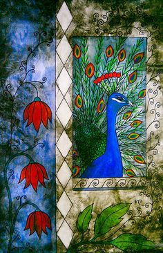 Peacock tapestry painting by Laura Carter #birds #art #homedecor