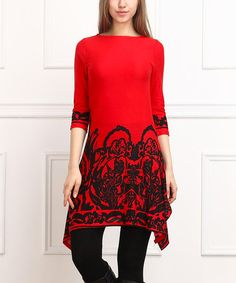 Look what I found on #zulily! Red & Black Abstract Sidetail Dress #zulilyfinds