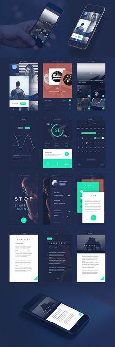 Dark Blue Flat Style Free Mobile App UI Kit PSD