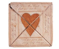 Love Token for Sarah Newlin with Envelope, American Folk Art Museum. via Valentine Love, Saint Valentine, Vintage Valentines, Happy Valentines Day, Victorian Valentines, Valentine History, Valentine Craft, Valentine Ideas, We Heart It