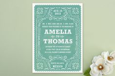 Fiesta Folk Art Wedding Invitations. Perfect color and detail for a taco-party reception!! #PerfectWedding