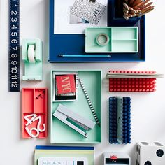 Color Pop Office Accessories - Light Gray | west elm--The light gray and aqua are amazing!