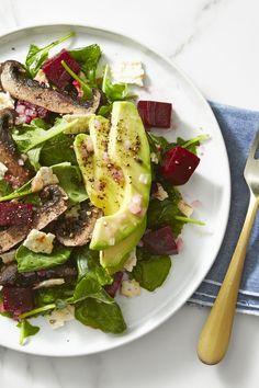 Vegan Beet, Mushroom and avocado salad Avocado Dessert, Avocado Salad Recipes, Beet Recipes, Vegetarian Recipes, Cooking Recipes, Healthy Recipes, Beet Salad, Lentil Recipes, Vegan Vegetarian