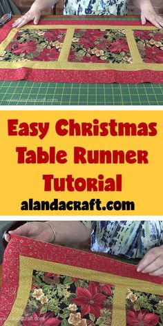 Sewing Animals Patterns Easy Easy Quilted Christmas Table Runner - These table runners will make great gifts, also ideal for dressing up a Christmas table and don't have a lot of time. Quick and easy to make. Xmas Table Runners, Quilted Table Runners Christmas, Patchwork Table Runner, Christmas Placemats, Christmas Runner, Table Runner And Placemats, Christmas Quilting, Christmas Skirt, Christmas Tables