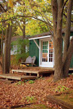 "Camp Wandawega 2014 Wrapped in dark green-painted wood, ""our"" humble abode sat atop a steep ridge overlooking Lake Wandwega…"