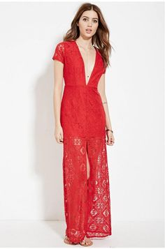 Red S Knit Lace Party Plunging V Date Gown High Slit Sexy Dress