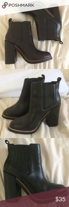 Genuine Leather Ankle Booties Real leather - perfect for casual outfits or going out at night - only worn twice EXCELLENT CONDITION - these don't say the size but I wear 7-7.5 and they fit perfectly Forever 21 Shoes Ankle Boots & Booties