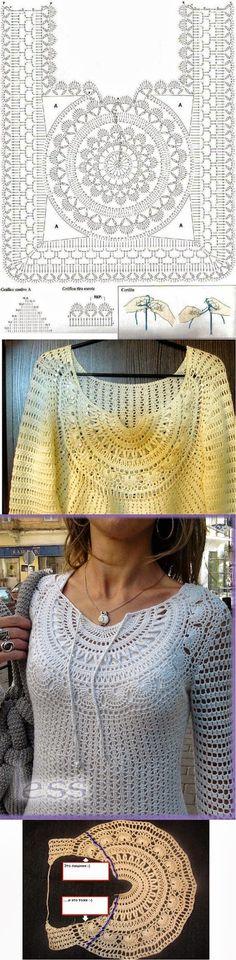 Blusa con canesú circular | Todo crochet                                                                                                                                                                                 Más