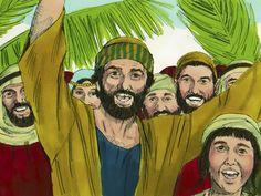 Intocht in Jeruzalem, 11 Bijbelplaten voor het digibord, kleuteridee.nl , Bijbelles voor kleuters.