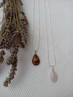 Colgantes piedras naturales, ojo de tigre/cuarzo rosado. http://sondemar.tictail.com/products/accesorios
