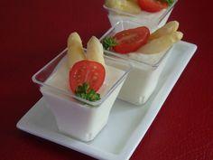 Verrines de panna cotta d'asperges blanches