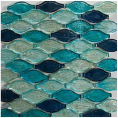 Like the ocean - 3-D blue and aquamarine color swirl, wave tessellation glass…