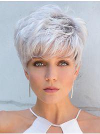 "Grise Perruques, 5"" Lisse Cheveux Synthétique Tresse Blanc Extra Courte Grise Perruques - Wigsis"