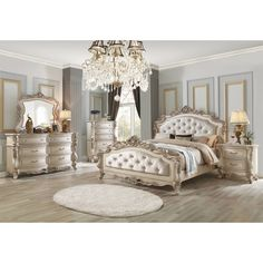 Acme Gorsedd Eastern King Bed in Cream Fabric and Antique White Acme Furniture, Bedroom Furniture, Furniture Buyers, Furniture Design, In Dubai, Moldings And Trim, Headboard And Footboard, Panel Bed, King Beds