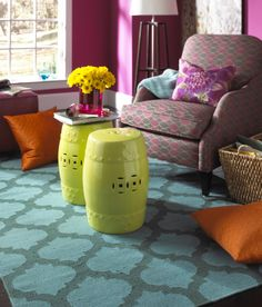 A little blue and a little green - the perfect water-colored Surya rug