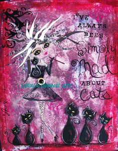 MAD about CATS  Funky Folk art Modern by LoralaiOriginalArt, $13.99