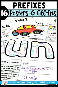 Prefix Posters with Prefix Fill-Ins Fourth Grade, Second Grade, Multiple Meaning Words Worksheet, Vintage Classroom Decor, Prefixes, Hands On Activities, Elementary Teacher, Interactive Notebooks, Word Work
