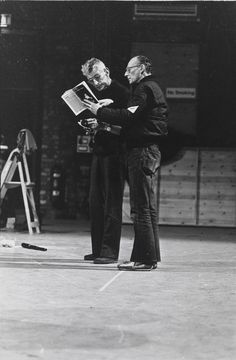 Samuel Beckett rehearses Endgame (Fin de partie) at Riverside Studios London May by Charles Harris Samuel Beckett, Nancy Cunard, Brylcreem, My Ghost, James Joyce, King Art, Writers And Poets, The Expendables, Scenic Design