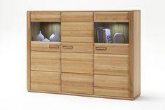 Highboard Lenor I in Kernbuche oder Eiche Bianco zeitlose Möbelserie Massivholz 1 x Highboard mit 1 Holztür 2 Glastüren und Einlegeböden Maße: B/H/T...