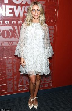 Ballerina pins: Julianne Hough, 27, showed off her legs while promoting #ThanksTeach during an appearance on Fox & Friends in New York City on Tuesday