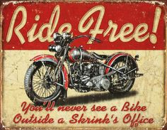 Ride Free Motorcycle Emaille bord