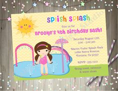 Splash Pad Party Invitation invite splish splash pad birthday party splash park water park CHOOSE YOUR GIRL