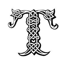 Keltische Buchstabe T – Vektorgrafik