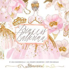 Eine verzauberte Set inklusive Ballett und Prinzessin Thema kombiniert in einem! Dieses handgemalte ClipArt-Sammlung umfasst 2 schicke wunderlichen Ballerina Illustrationen, Diadem, Krone, Ballettschuhe, weiche romantische Pfingstrosen Blumen, mädchenhaft Perlenkette. Die Farbgebung ist