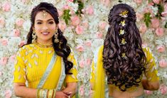 Saree Hairstyles, Oval Face Hairstyles, Open Hairstyles, Easy Hairstyles For Medium Hair, Indian Hairstyles, Bride Hairstyles, Vintage Hairstyles, Amazing Hairstyles, Simple Bridal Hairstyle