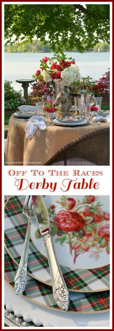 Off To The Races Kentucky Derby-inspired tablescape with recipes and inspiration for the Run for the Roses | homeiswheretheboatis.net #KentuckyDerby #table #cocktail #dessert