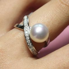 8mm Fresh Water Pearl Engagement Ring, Diamonds, 14K White Gold. $565.00, via Etsy.