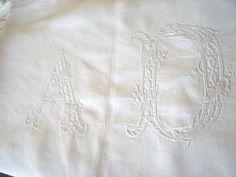 Antique French Pure Linen Sheet. Monogram A by FrancaisBrocante